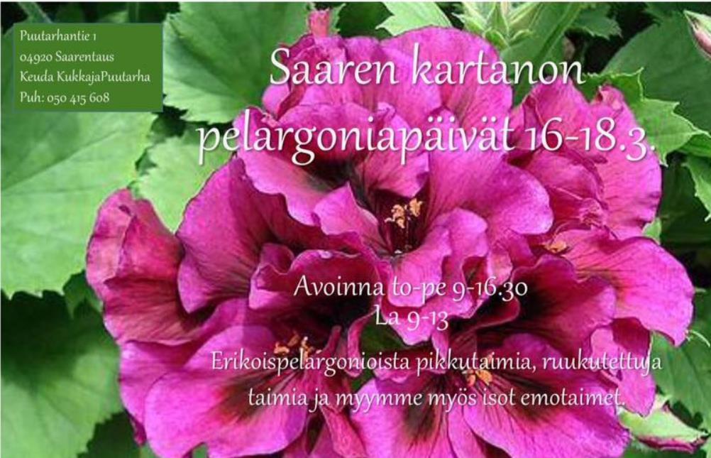 Saaren kartanon pelargonipäivät 16-18.3.17
