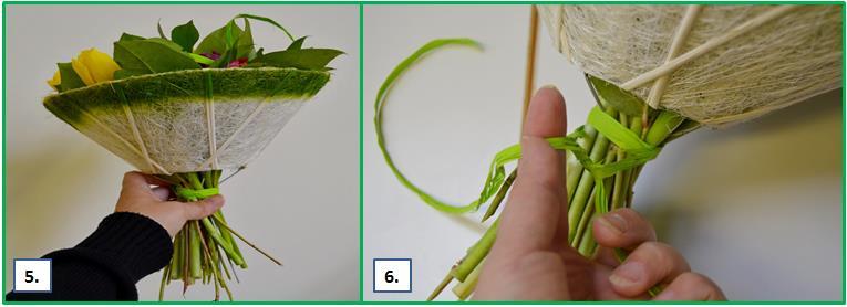 Kukkakimppuihin solmun sitominen