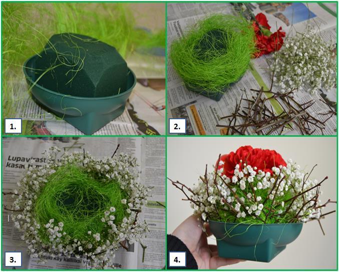 asetelman tekoa kukkasista